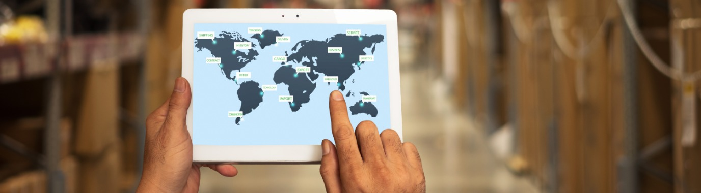 Worldmap on a tablet, showing international logistic sites